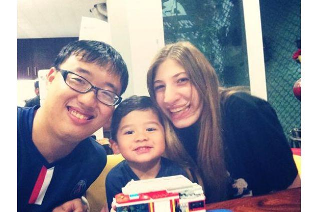 Claudia, papà e fratello