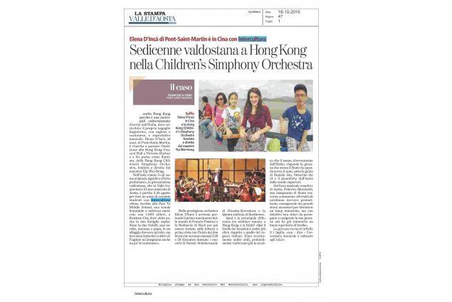 18.10.2016 Articolo pubblicato da La Stampa, ed.Aosta