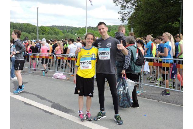 Marta al traguardo della mezza maratona a Göteborg