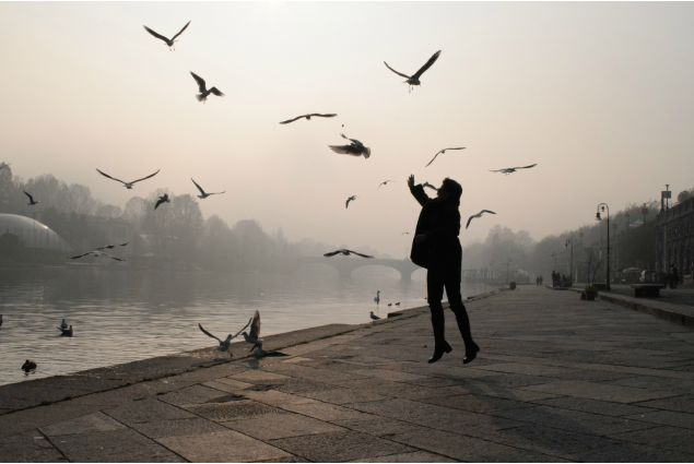 Panna, dall'Ungheria a Cuneo per un anno, ha partecipato con la foto 'Nebbia a Torino': <em>Questa foto è scattata a Torino, a inizio dicembre, quando sono andata con gli altri studenti stranieri per visitare la città. Quel giorno era veramente freddo, le mie mani sono quasi gelati sulla macchina fotografica, ma quella nebbia spessa e meravigliosa, che ha coperto la città, risarcisce tutto. Volevamo mangiare il pranzo ai Murazzi, ma come si vede , anche gli uccelli pensavano cosí. Nebbia, gabbiani, luce di Natale e cioccolata calda- questi fanno di Torino una delle mie città preferite in Italia.</em>