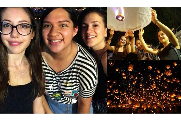 Gaia e le sue migliori amiche durante il <em>loy krathong</em>, festività thailandese