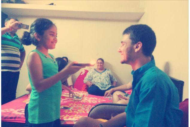 Tullio a casa della sua tutor di AFS India