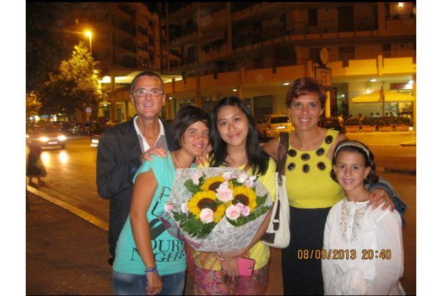Jovanka e la sua famiglia ospitante, nel 2013