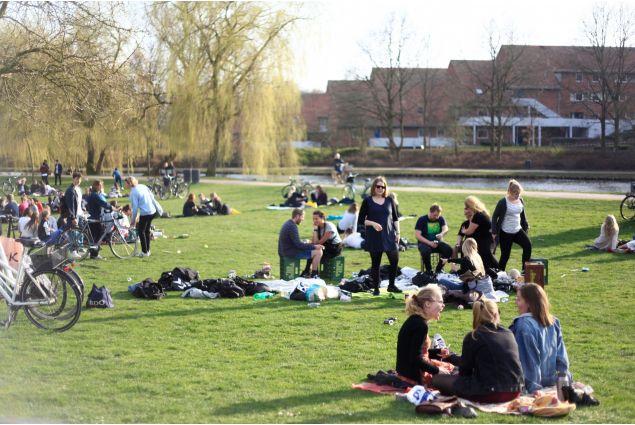 <div>Venerdì pomeriggio di inizio primavera: gli studenti si riuniscono al parco per festeggiare l'arrivo della bella stagione</div>