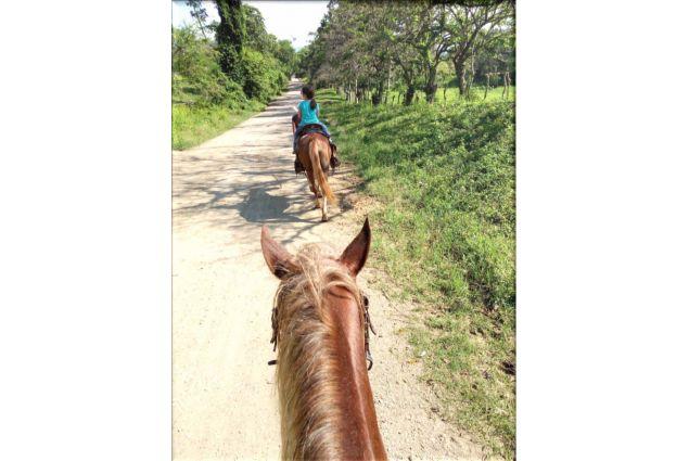 Passeggiata a cavallo con la sorellina ospitante