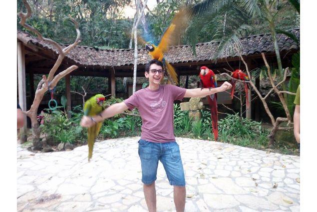 Per la prima volta Matteo ha interagito con dei pappagalli,