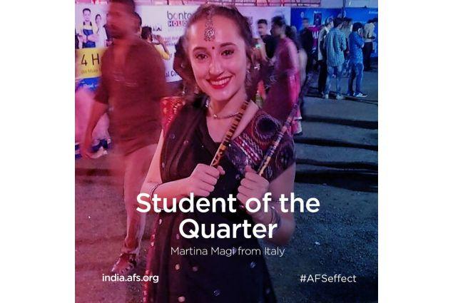 Martina è stato premiata come <em>Studente del Trimestre</em> da AFS India!